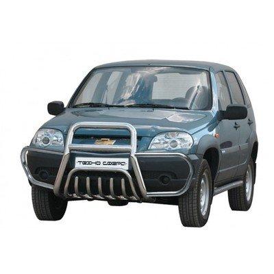 Передок с дополнительной защитой двигателя « С ушами и трубой сверху» (Ø=63,5 мм), Chevrolet Niva (- 03.2009) (нержавеющая сталь)