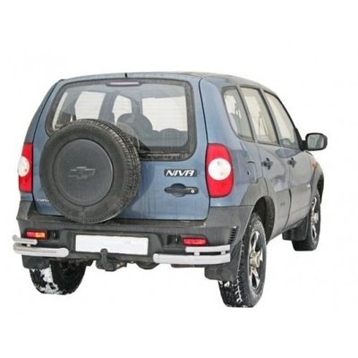Защита заднего бампера «Уголки двойные»  (Ø=63,5 мм), Chevrolet Niva (03.2009 -)/Lada Niva (07.2020 -) (нержавеющая сталь)