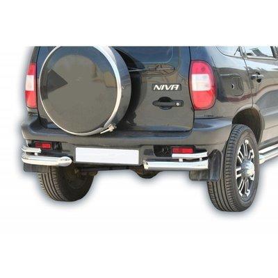 """Защита заднего бампера """"Уголки двойные"""" (Ø=63,5 мм), Chevrolet Niva (- 03.2009) (нержавеющая сталь)"""