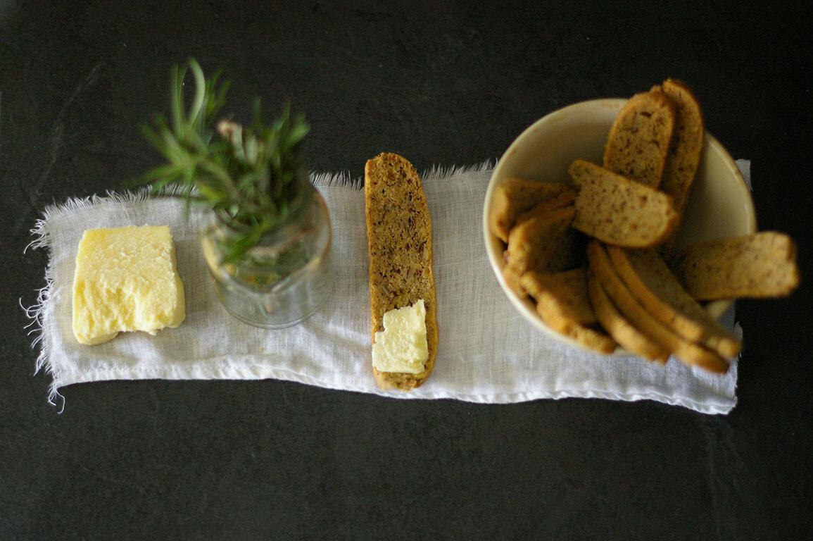 Olive Oil, Walnut & Rosemary Biscotti