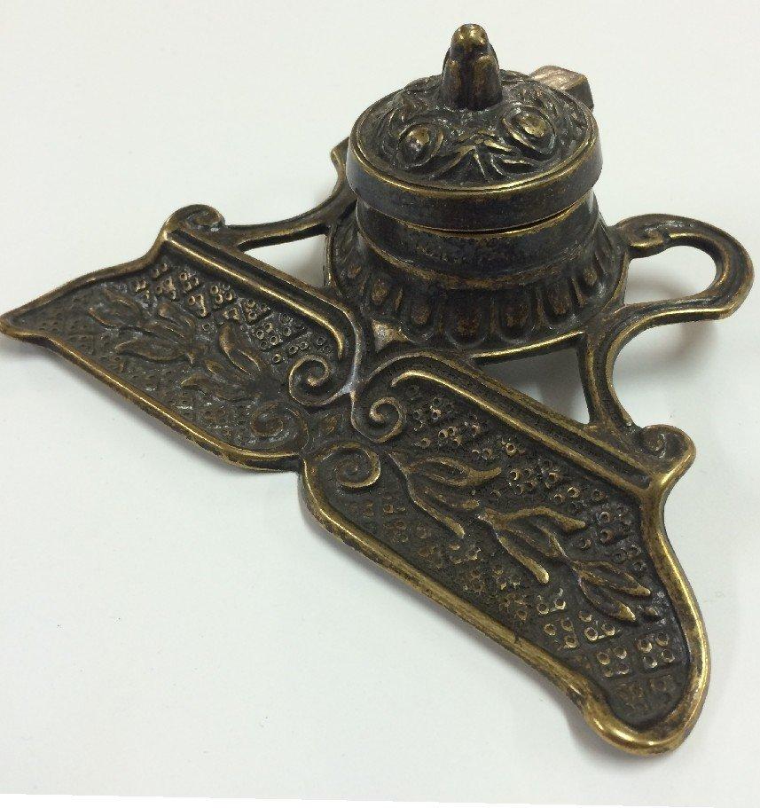 Italian Made Antique Brass Inkwell, $129