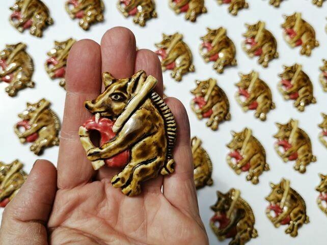 Ceramic Bagpiping Boar