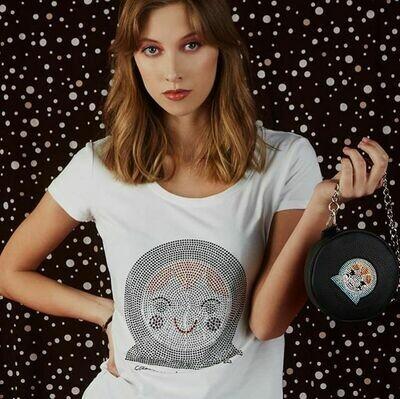 T-shirt cotone con Bambolina in Strass