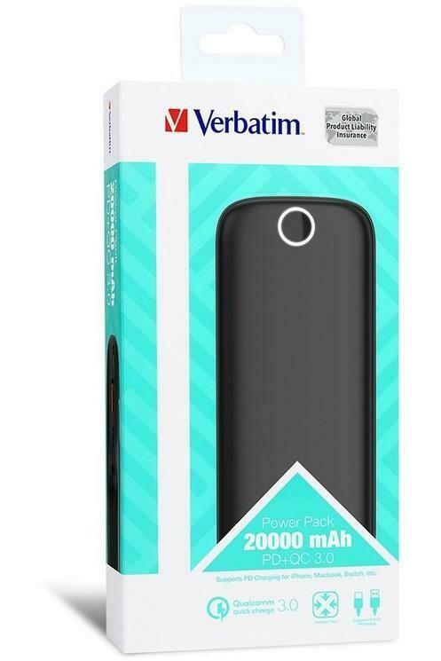 Verbatim QC3.0 , PD 18W Type C + USB Dual USB Port, 20000mAh LI-Polymer (Slim & Sleek Design) (1yr wty)