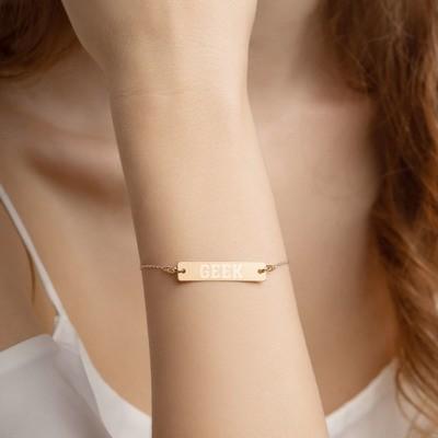 Geek Engraved Silver Bar Chain Bracelet