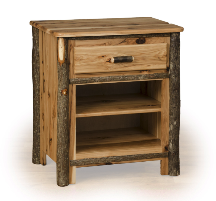 Hickory one Drawer Two Shelf Nightstand