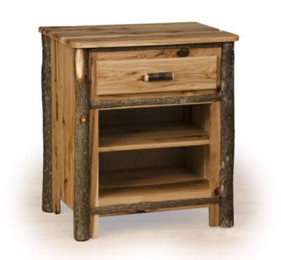 Hickory one Drawer Two Shelf Nightstand