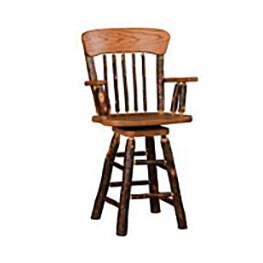 Oak Back Swivel Arm Barstool