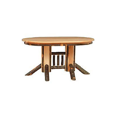 Double Pedestal Solid Top Hickory Table