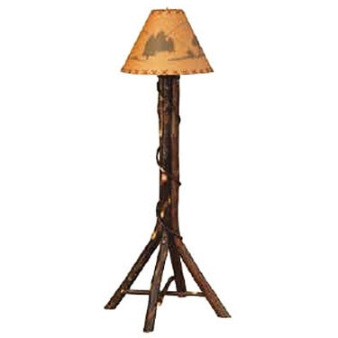 Split Log Floor Lamp w/Shade
