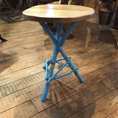 Tripod Table w maple top/bue-Indian design