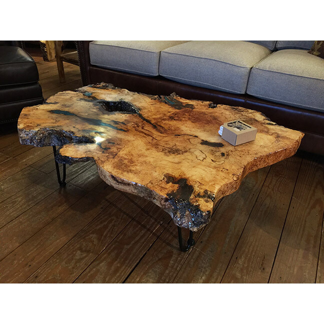 Maple Burl Coffee Table with Turquoise
