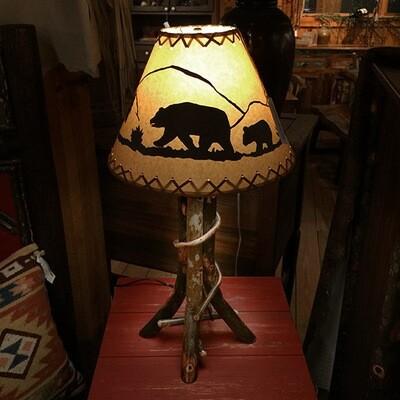 Hickory Table Lamp w/ Shade
