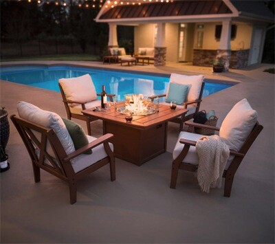 Braxton 5-Piece Deep Seating Conversation Set With Fire Pit Table