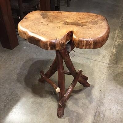 Maple Tripod Side Table w/Crepe Myrtle Base