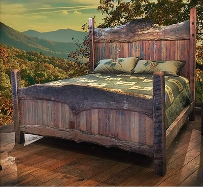 Maple Slab King Bed with 2 Nightstands