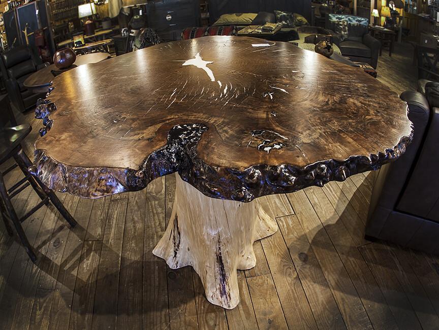 White Cedar Stump, 55X55 Walnut Burl Pub Table