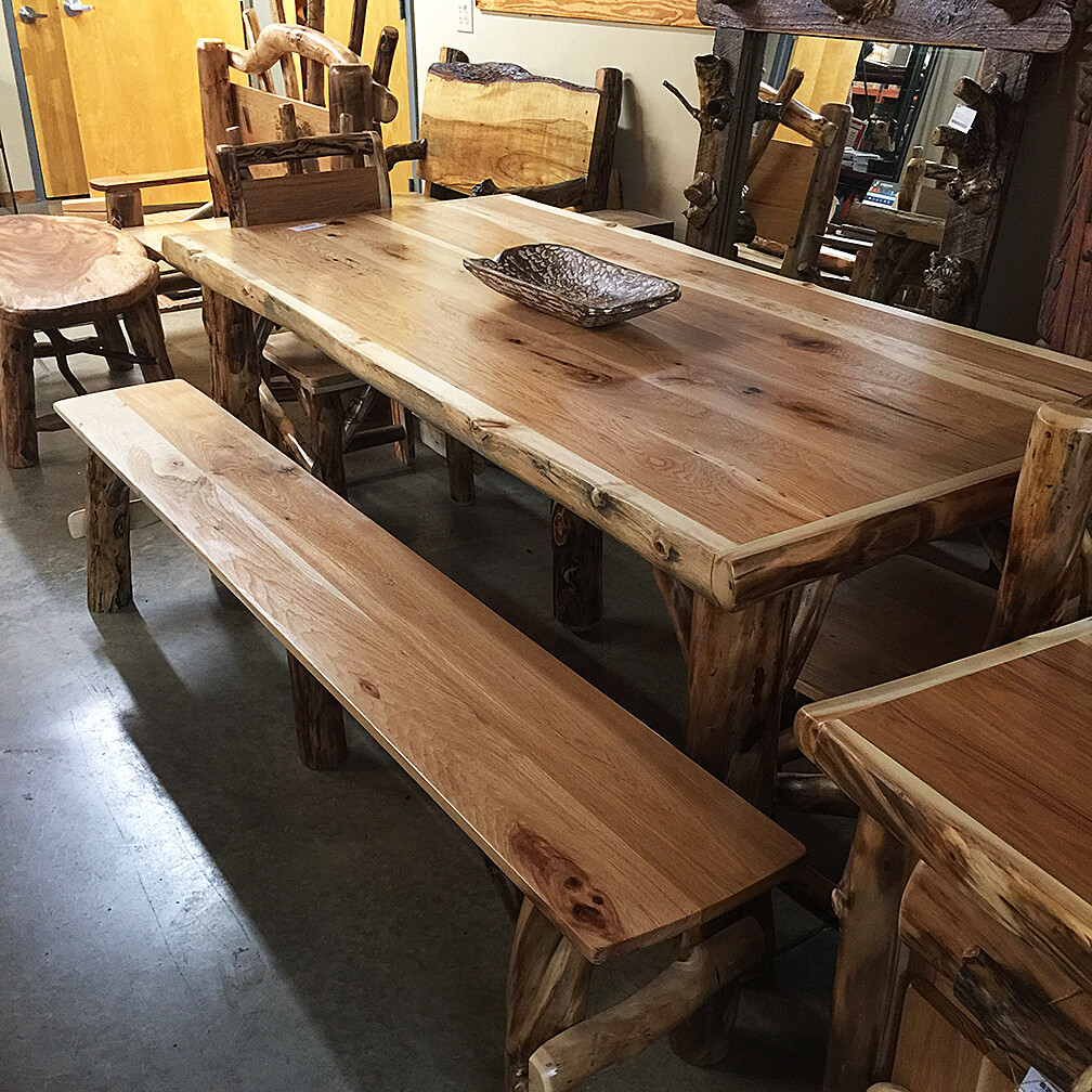 Aspen and Hickory 7' Table Set (table, 2 chairs and 2 benches)