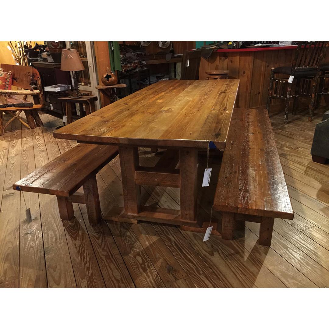 7' Barnwood Dining Table with Trestle Base
