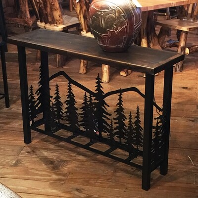 Iron 3D Sofa Table w/feathered Tree