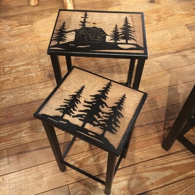 Iron Resting Table w/cabin and Tree