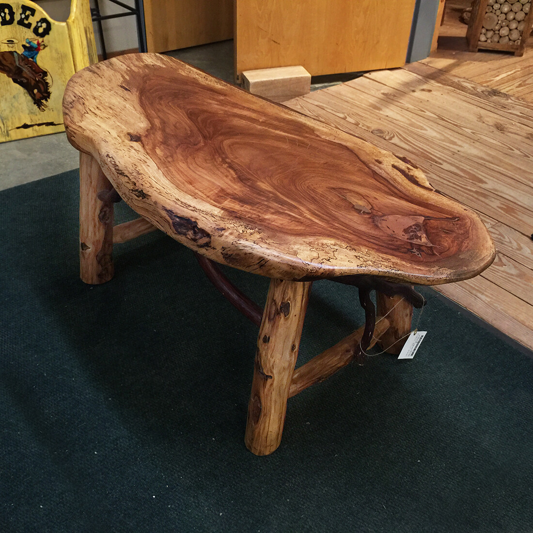 Pecan Slab Coffee Table with Locust and Laurel Base