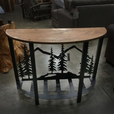 Iron Rounded Sofa Table with Feather Tree Scene