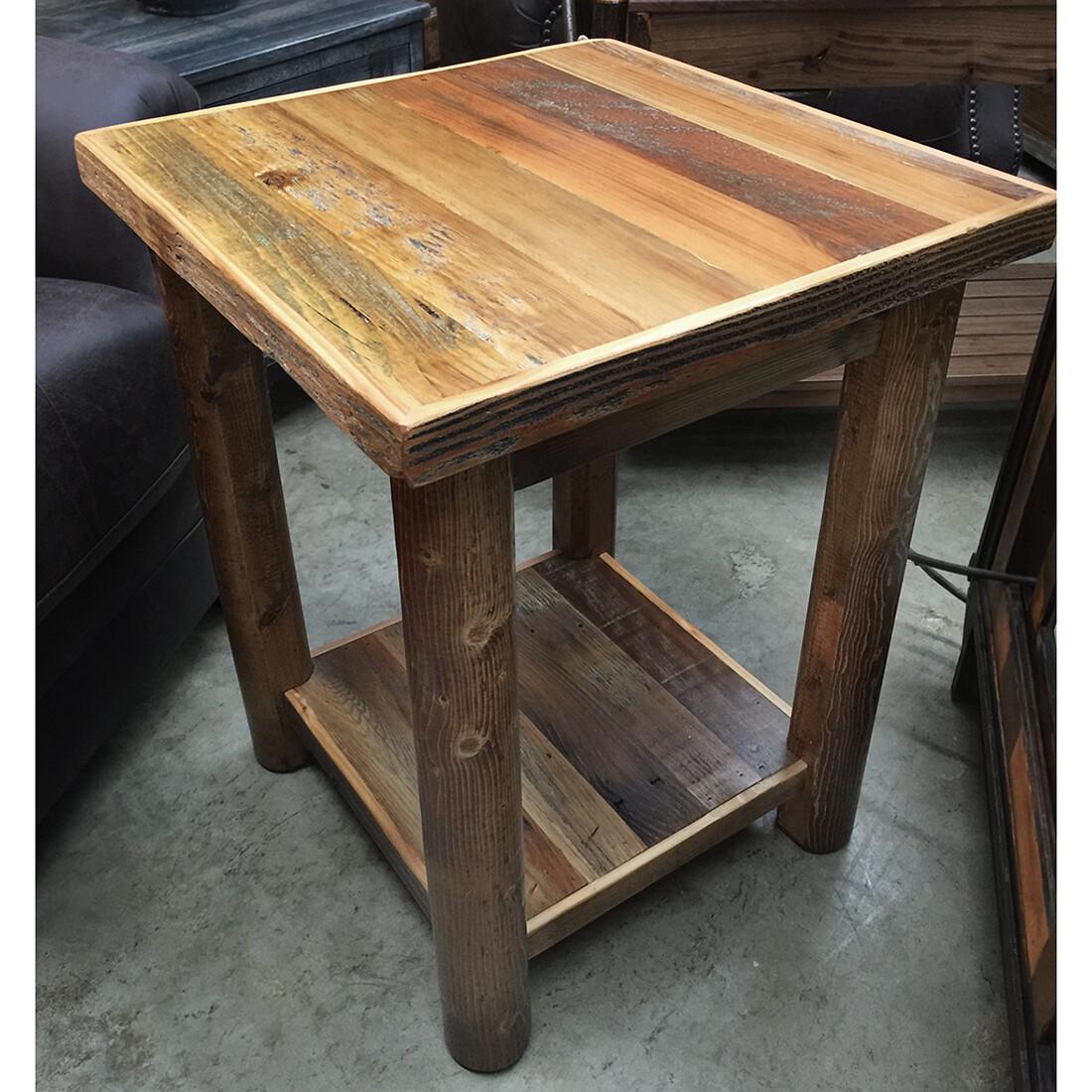 Barnwood Standard w/Shelf Nightstand Round Leg