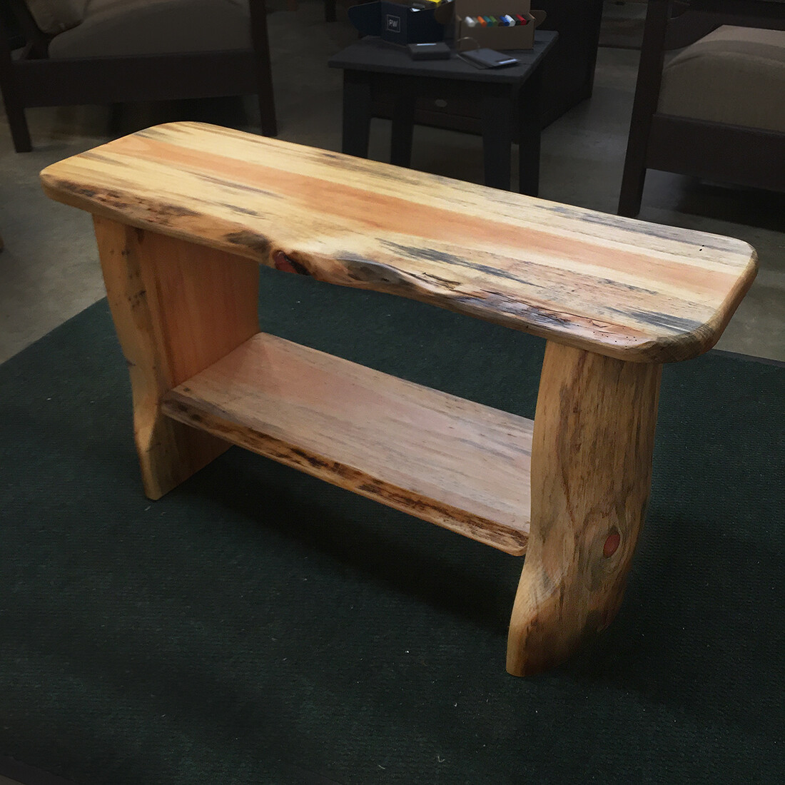 Pine Slab Bench Table with Shelf