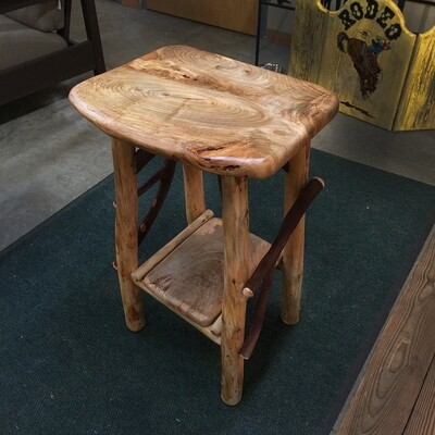 Maple Live Edge Side Table Pine and Laurel Base with Magazine Rack
