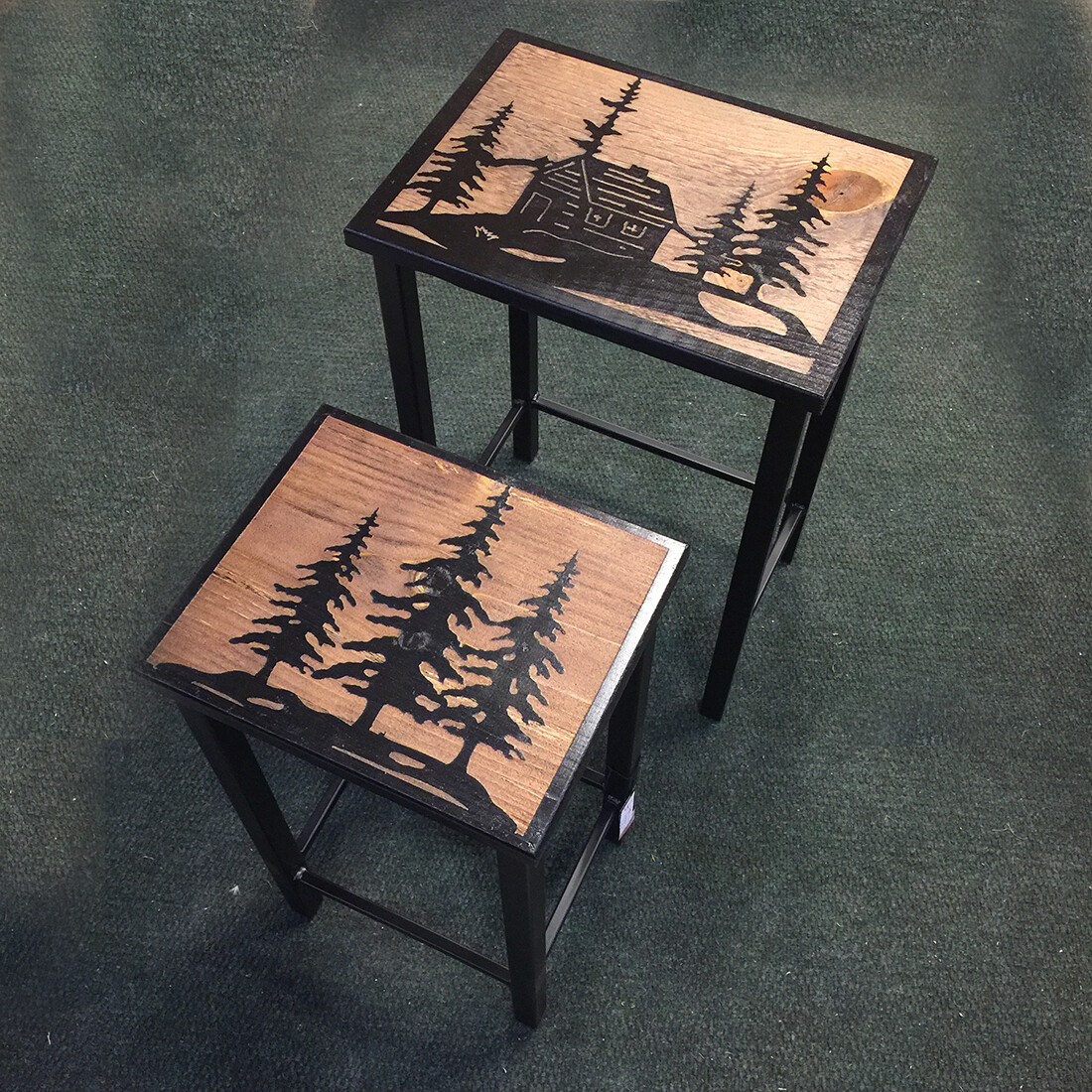 Iron Nesting Tables w/ Cabin & Tree Design