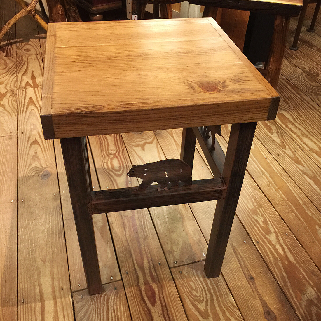 End Table with Bear Accent and Deck Board Top
