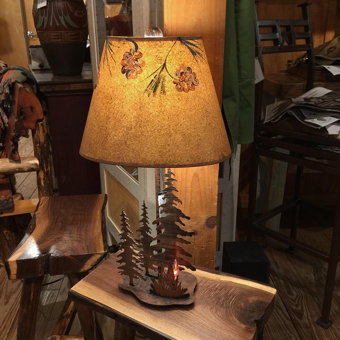 Small Iron Pine Tree/Campfire w/night Light