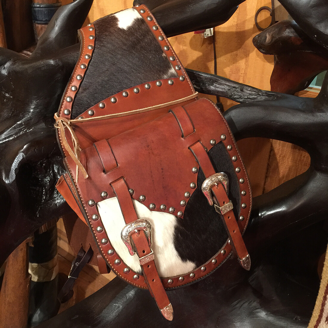 Black and White Cowhide Saddle Bags