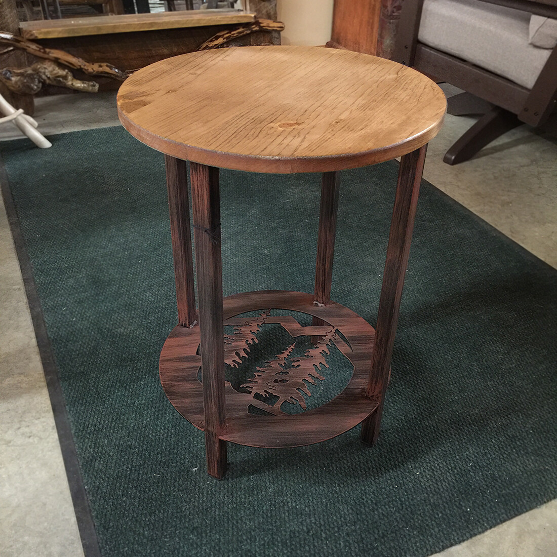 Round Metal End Table with Feather Tree Scene
