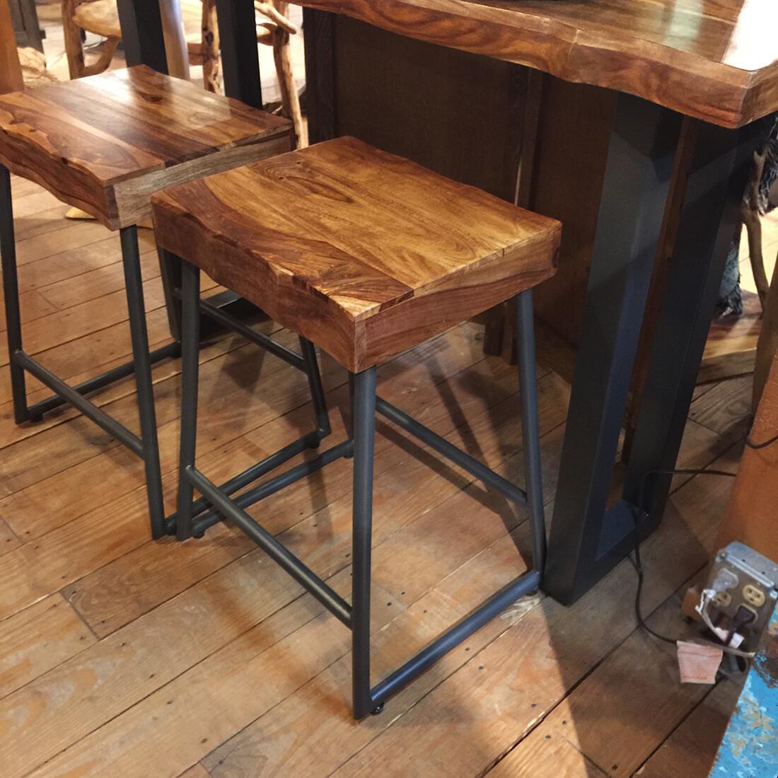 Backless Stool w/Wood Seat (Natural Sheesam)