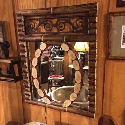 Crepe Myrtle Twigs Rustic Mirror