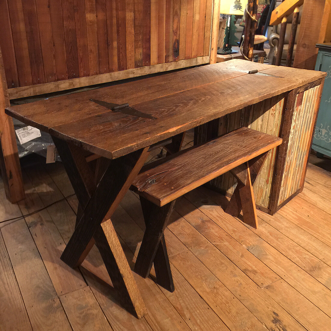 Table with 2 Chestnut Benches