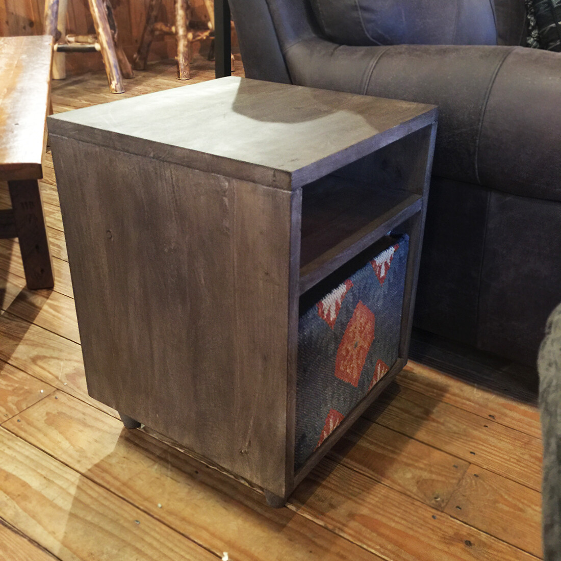 Storage End Table with Canvas Storage Basket