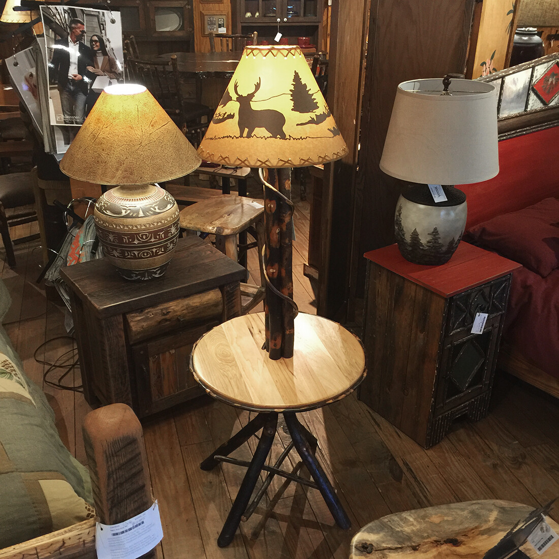 Hickory Floor Lamp With Table