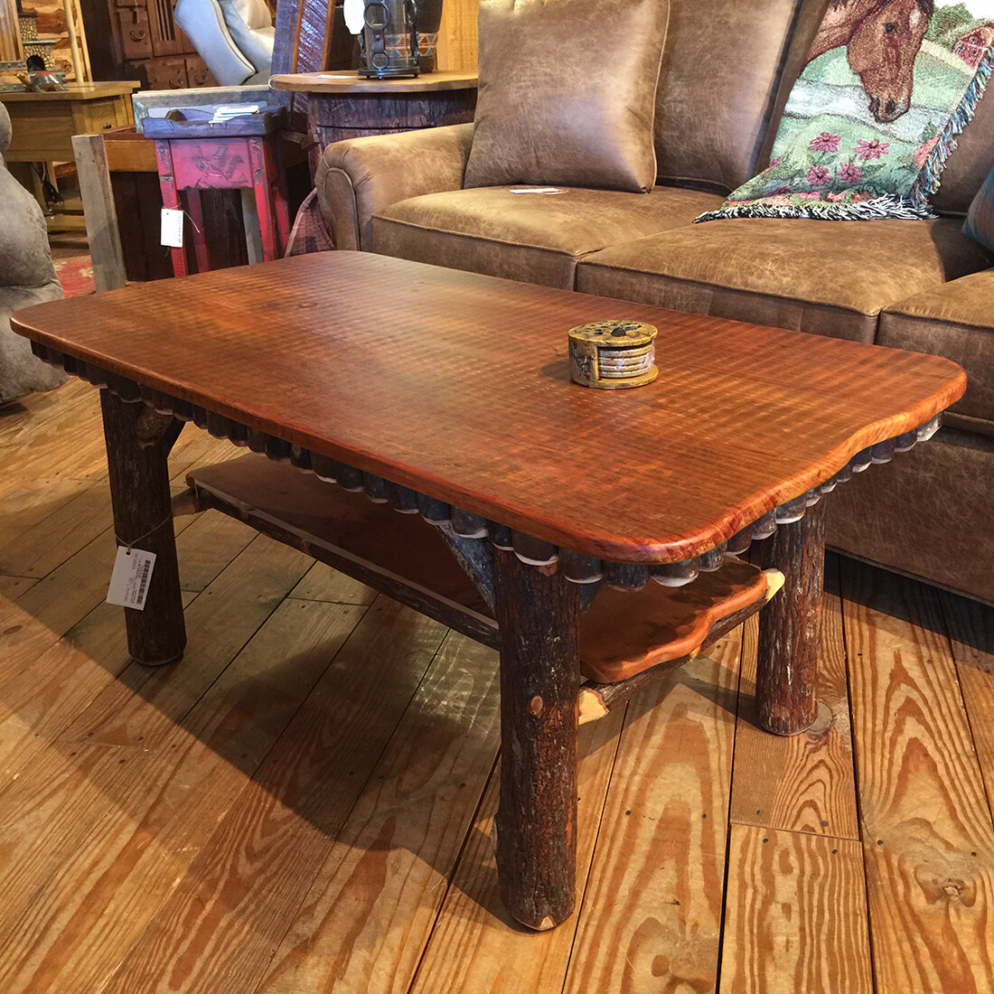Pine Coffee Table/1 wide board top w/Hickory Base