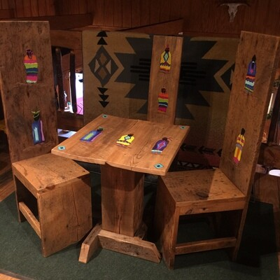 Barnwood Table with 3 Chairs w/local artwork