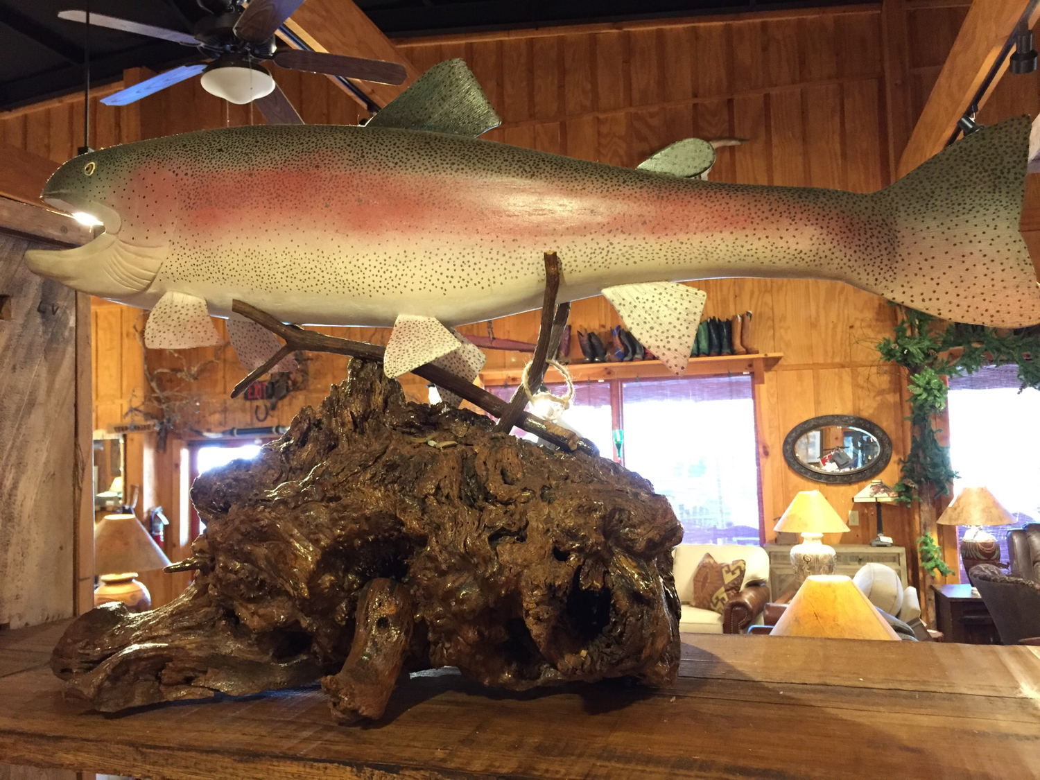 """36"""" Hand Carved and Painted Rainbow Trout"""