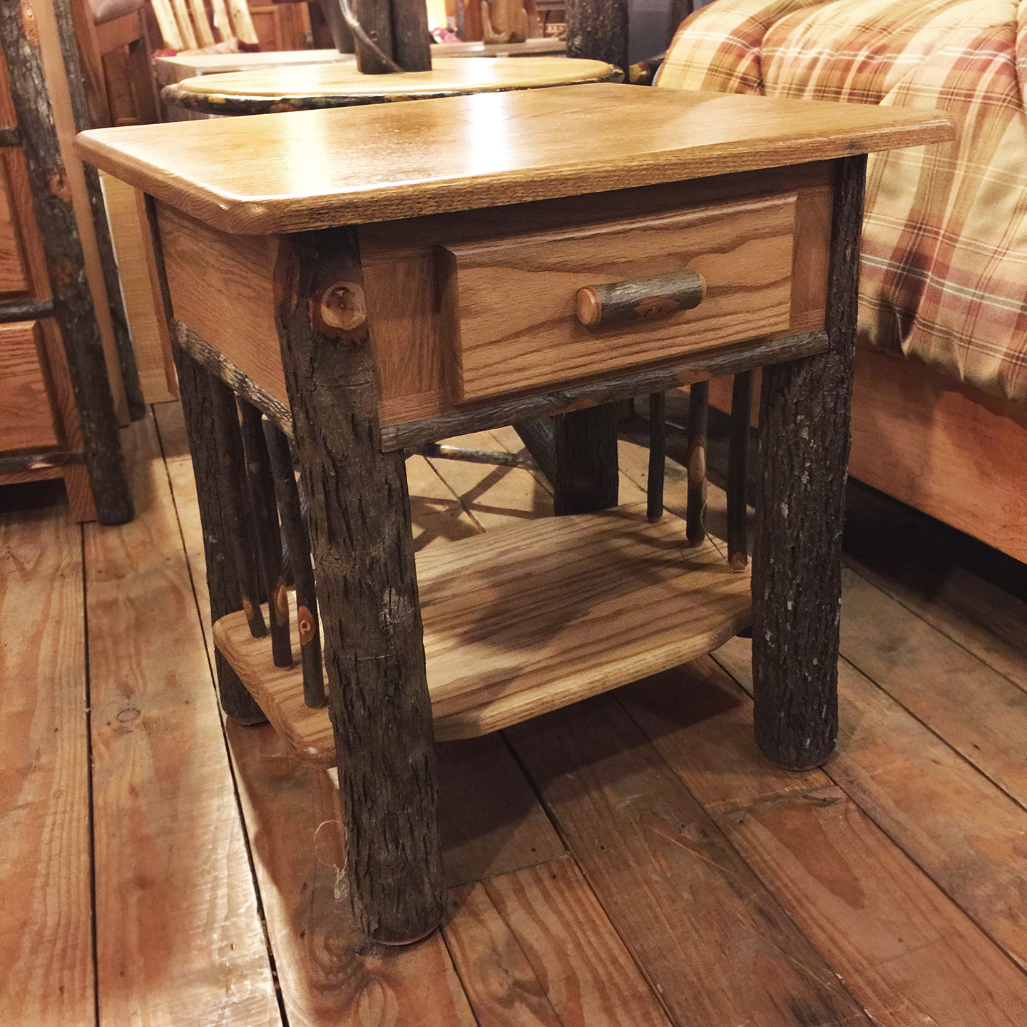 Hickory and Oak Nightstand Natural Finish