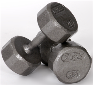 12-Sided Solid Gray Dumbbells