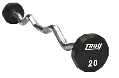 TROY 12-Sided Urethane Curl Barbell