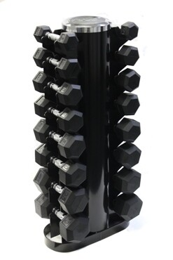 "USA Rubber Hex Dumbbells ""8-Pair Vertical Rack"" Pack"