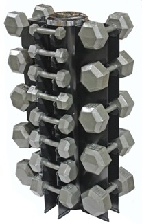 "USA Iron Hex Dumbbells ""13-Pair Vertical Rack"" Pack"