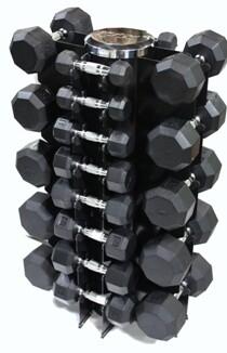 """VTX Rubber Dumbbells """"13-Pair Vertical Rack"""" Pack"""