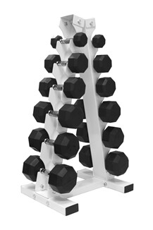 "VTX Rubber Dumbbells ""6-Pair A-Frame Rack"" Pack"
